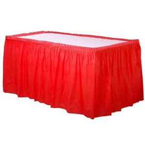 Red Plastic Table Skirt - 73cm x 4.2m