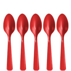 Red Reuseable Plastic Spoons