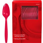 Red Plastic Spoons
