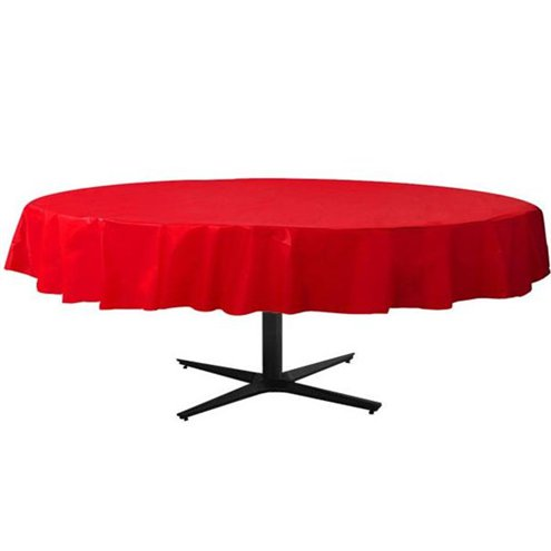 225 & Red Round Plastic Table Cover - 2.1m