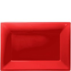 Red Serving Plastic Platters - 23cm x 32cm
