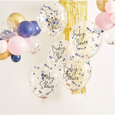 "Gender Reveal Baby Shower Confetti Balloons - 12"" Latex"
