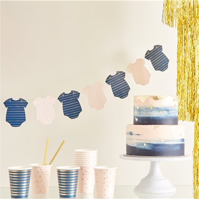 Gender Reveal Navy & Pink Baby Grow Bunting
