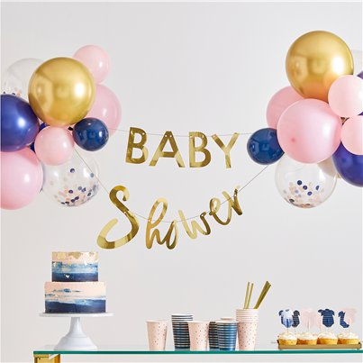 Gender Reveal Gold Baby Shower Balloon & Bunting Kit