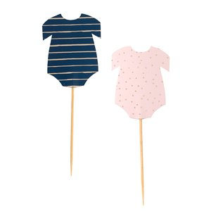 Gender Reveal Navy & Pink Baby Grow Cupcake Toppers