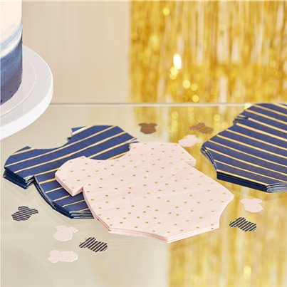 Gender Reveal Navy & Pink Baby Grow Shaped Napkins