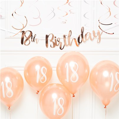 18th Birthday Rose Gold Decoration Kit - Value
