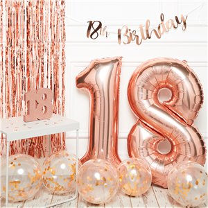 18th Birthday Rose Gold Decoration Kit - Premium