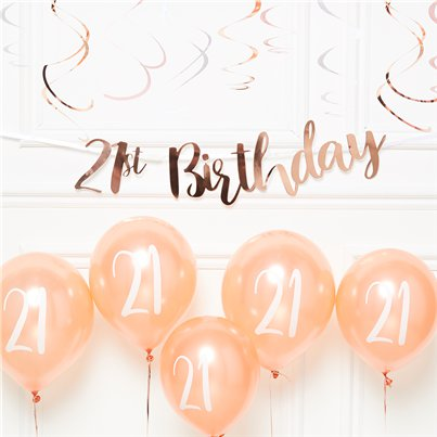 21st Birthday Rose Gold Decoration Kit - Value