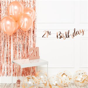 21st Birthday Rose Gold Decoration Kit - Deluxe