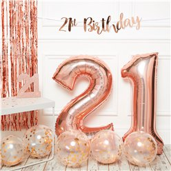 21st Birthday Rose Gold Decoration Kit - Premium