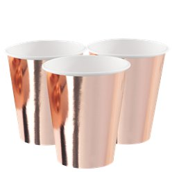 Rose Gold Metallic Paper Cups - 250ml