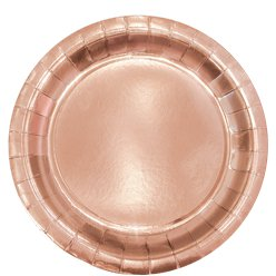 Rose Gold Metallic Round Paper Plates - 23cm
