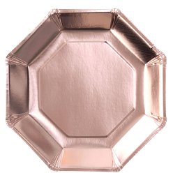 Rose Gold Metallic Octagon Paper Plates - 23cm