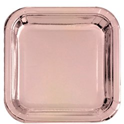 Rose Gold Metallic Square Paper Plates - 23cm