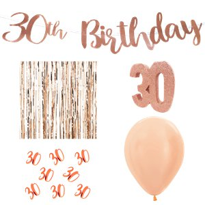 30th Birthday Rose Gold Decoration Kit - Deluxe
