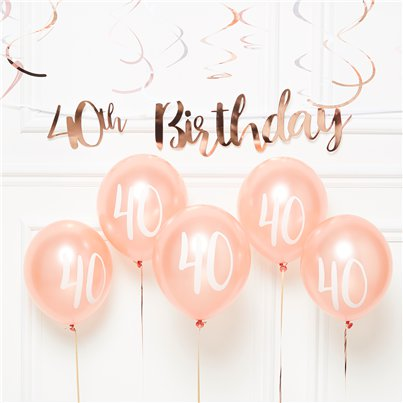40th Birthday Rose Gold Decoration Kit - Value