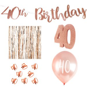 40th Birthday Rose Gold Decoration Kit - Deluxe