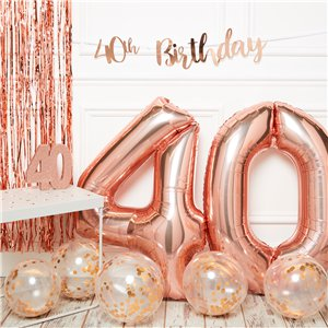 40th Birthday Rose Gold Decoration Kit - Premium