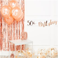 50th Birthday Rose Gold Decoration Kit - Deluxe