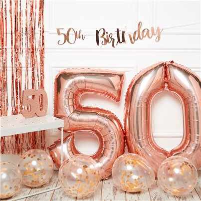 50th Birthday Rose Gold Decoration Kit - Premium