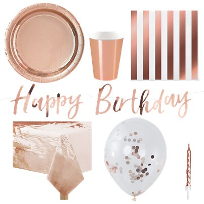 Rose Gold Partyware Pack - Deluxe Pack for 8