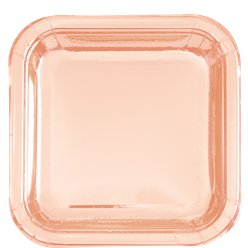Rose Gold Square Foil Plates - 23cm