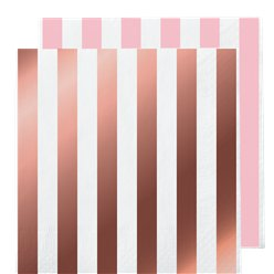 Rose Gold Stripe Paper Napkins - 33cm