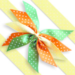 Spring Polka Dot Cake Ribbon Bow - 25mm