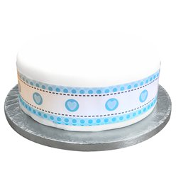 Blue Heart Stitch Cake Frill