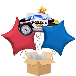 Police Car Balloon Bouquet - Delivered Inflated