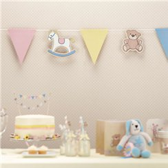 Rock A Bye Baby Party Supplies Paper Bunting - 11.5ft