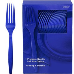 Royal Blue Reusable Forks - 100pk