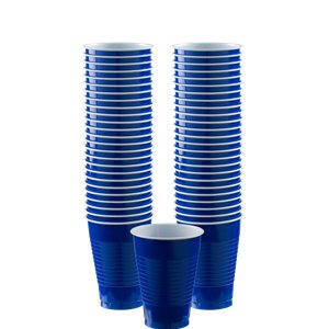 Royal Blue Cups - 355ml Plastic Party Cups