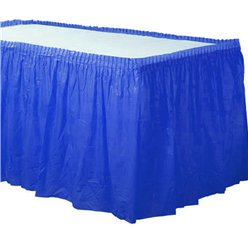 Royal Blue Plastic Tableskirt - 73cm x 4.2m