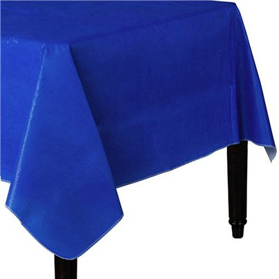 Royal Blue Flannel-Backed Plastic Lined Paper Tablecover - 1.3m x 2.2m