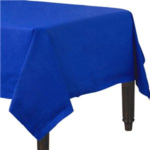 Royal Blue Plastic Lined Paper Tablecover - 1.4m x 2.8m
