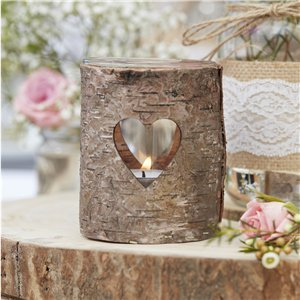 Rustic Country Wooden Heart Tealight Holder - 9cm