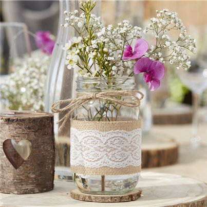 Rustic Country Hessian Wrapped Glass Jars - 12cm