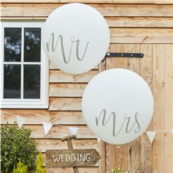 "Rustic Country Mr & Mrs Giant Balloons - 36"" Latex"