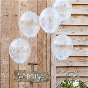 Rustic Country White Confetti Balloons - 12