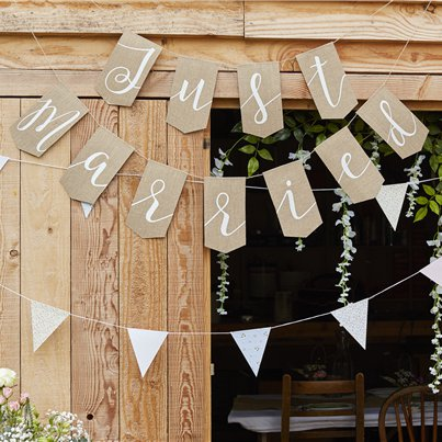 Rustic Country Just Married Hessian Bunting - 1.7m