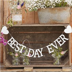 Rustic Country 'Best Day Ever' Wooden Bunting - 1.5m