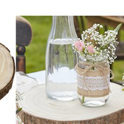 Rustic Country Wooden Slice Centerpiece - 29cm x 32cm
