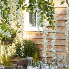 Rustic Country White Artificial Wisteria - 1m