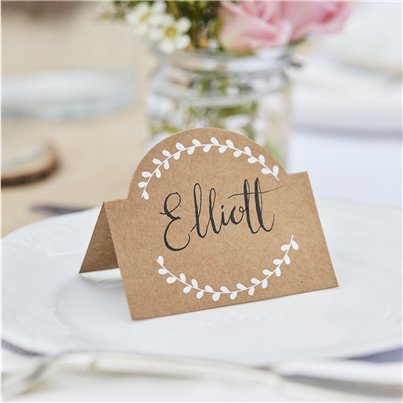 Rustic Country Kraft and White Vine Place Cards