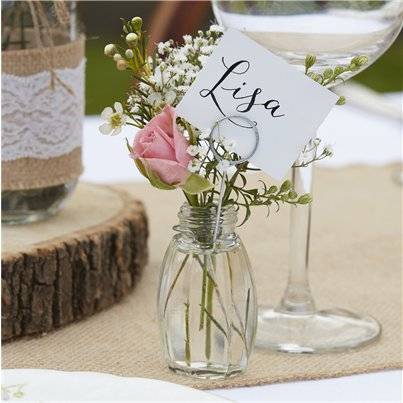 Rustic Country Glass Place Card Holders - 11cm