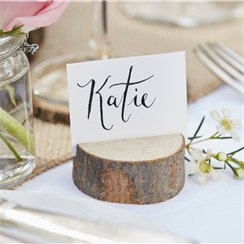 Rustic Country Mini Wooden Log Place Card Holder - 5cm