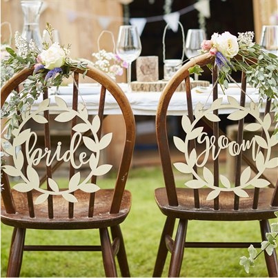 Rustic Country Bride & Groom Chair Signs