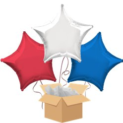 Red White Blue Star Mix Balloon Bouquet - Delivered Inflated